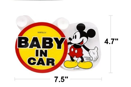 "Disney Mickey Mouse "" BABY IN CAR "" Safe Driving Swing Message 4.7"" LIMITED EDITION. - 1"
