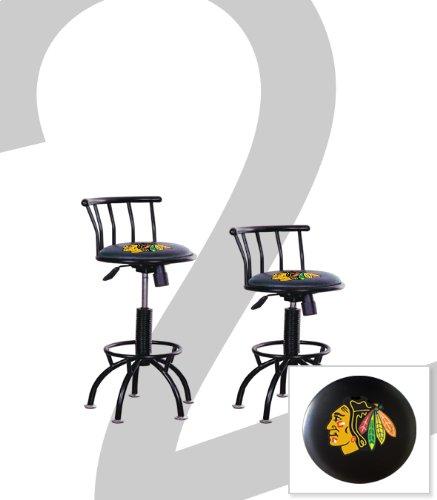 "2 New Chicago Blackhawks Themed Adjustable Height 24""-29"" Black Metal Finish Swivel Seat Bar Stools! front-1043815"