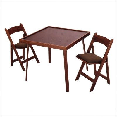 "35"" Oak Folding Domino & Game Table Set Wood Finish: Mahogany"
