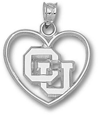 Colorado Buffaloes CU Heart Pendant - Sterling Silver Jewelry by Logo Art