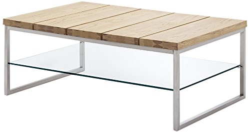 Robas Lund Couchtisch Norge Wohnzimmertisch, furniert, Glas, Metall in Edelstahloptik, Asteiche, 60 x 100 x 39 cm