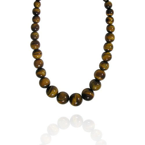6-16mm Round Tiger Eye Graduated Bead Necklace, 22+2