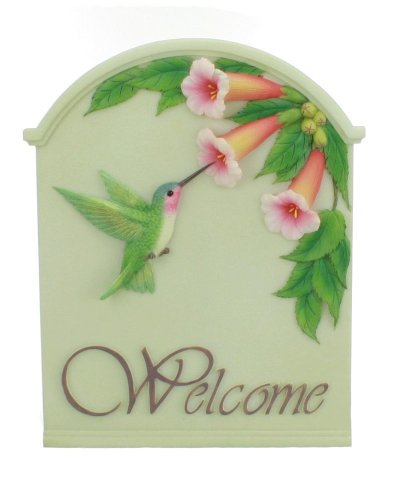 Hummingbird & Trumpet Welcome Sign