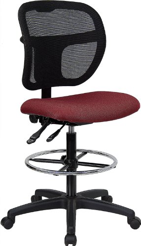 Flash Furniture Wl-A7671Syg-By-D-Gg Mid-Back Mesh Drafting Stool With Burgundy Fabric Seat