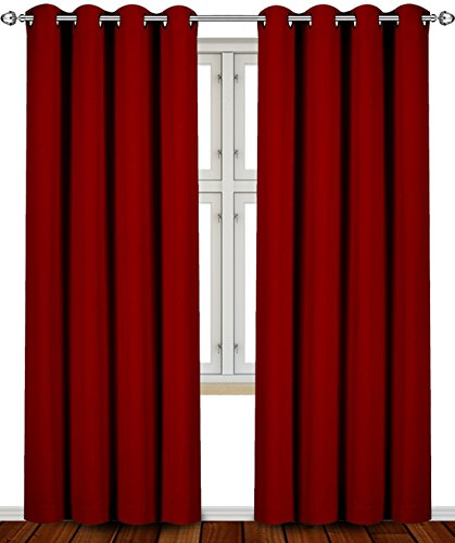 Blackout, Room Darkening Curtains Window Panel Drapes - (Burgundy Color) 2 Panel Set, 52 inch wide by 84 inch long each panel- by Utopia Bedding (Color Drapes compare prices)