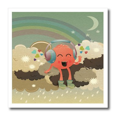 Ht_104598_3 Dooni Designs Fantasy Designs - In The Clouds With Rainbow Happy Music Monster Wearing Headphones - Iron On Heat Transfers - 10X10 Iron On Heat Transfer For White Material