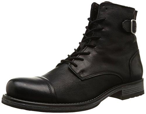 JACK & JONES Jjsiti Leather Boot Black, Stivaletti classici non imbottiti, corti uomo, Nero (Nero (nero)), 46