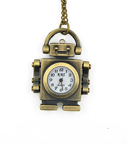 Chopmall® Vintage Bronze Robot Shape Pendant Necklace Watch (Robot Watch Vintage compare prices)