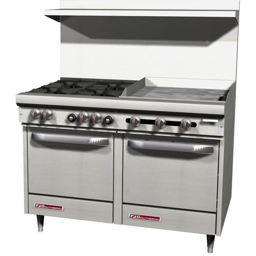 "Southbend - S48Ee-2G - S-Series 48"" Restaurant Range W/ 4 Burners & 24"" Griddle"