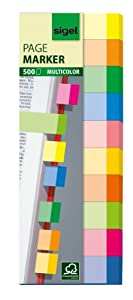 Sigel HN682 Haftmarker Multicolor, 500 Streifen, 10 Farben, Streifenformat: 50 mm x 15 mm