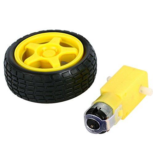 4 Pcs Arduino Plastic Tire Wheel With Dc 3v 5v 6v Gear