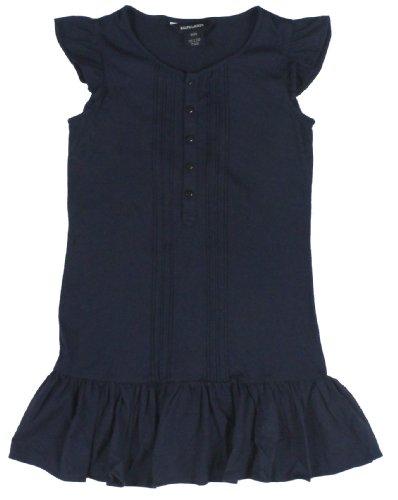 Ralph Lauren Girls' Boatneck Ruffle T-Shirt Dress (Large, Navy)