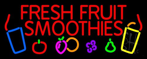 """Red Fresh Smoothies Outdoor Neon Sign 13"""" Tall X 32"""" Wide X 3.5"""" Deep front-1040068"""