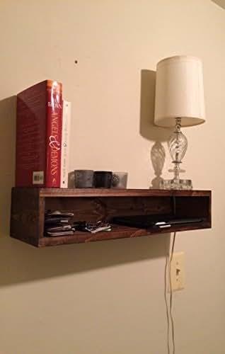 floating bedside table rustic nightstand