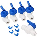 """Equal Straight OD Tube Ball Valve Quick Connect Fitting 1/4"""" RO Water System Pack of 5"""