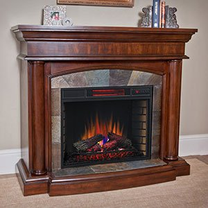 ChimneyFree Aspen Infrared Electric Fireplace Mantel Package in Meridian Cherry - 28WM1751-C248 (Cherry Wood Electric Fireplace compare prices)