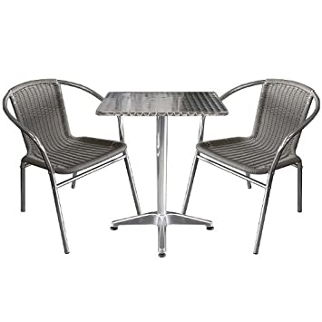 3tlg bistro set bistrogarnitur bistrotisch 60x60cm silber stapelbare poly rattan bistrost hle. Black Bedroom Furniture Sets. Home Design Ideas