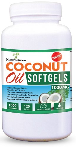 Coconut Oil CAPSULES-PURE EXTRA VIRGIN Softgels-Raw Unrefined Cold Pressed Extract Pills 1000 Mg -Weight Loss Diet Benefits-Best for Healthy Heart,Body,Skin,Hair-Perfectly Natural Uses For Dry Skin Care-Good for Hair Care Beauty-Energy Source-Healthy MCT-100% Money Back GUARANTEED!Made in USA (120 Softgels)