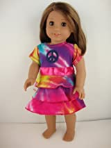 A Really Wild Tye Dye Dress with Peace Sign Designed for 18 Inch Doll Like the American Girl Dolls Shoes Sold Separately