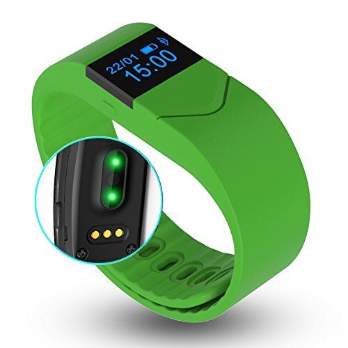 EIISON Fitness Tracker with Heart Rate monitor E5S Activity Watch Step Walking Sleep Counter Wireless Wristband Pedometer Exercise Tracking Sweatproof Sports Bracelet for Android and iOS (Green)
