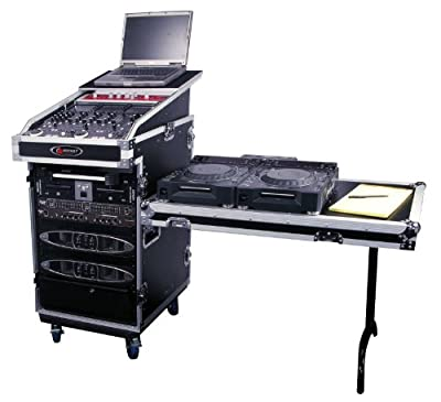 Odyssey FZGS1316WDLX Flight Zone Glide Style Ata Combo Rack With Wheels And Side Table: 13u Top Slant, 16u Vertical