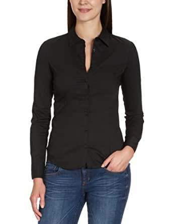 VERO MODA Damen Bluse 10074424 COUSIN PRINCESS LS SHIRT, Gr. 34 (XS), Schwarz (BLACK)