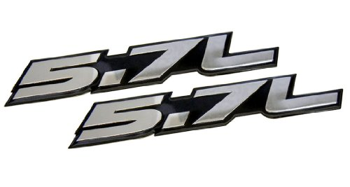 2 X 5.7L Liter In Silver On Black Highly Polished Aluminum Car Truck Engine Swap Nameplate Badge Logo Emblems (Pair/Set Of 2) For Toyota Tundra Sequoia V8 Chevy 350 Tahoe Suburban 1500 Camaro Impala Caprice Ss Corvette Z06 Ls1 Ls6 Dodge Challenger Charger