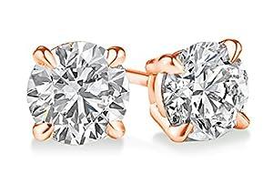 PARIKHS Round Diamond stud Plus Quality in 14K Rose Gold (0.06 ctw)