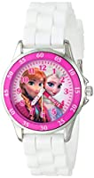 "Disney Kids' FZN3550 ""Frozen Anna and Elsa"" Watch with Pink Rubber Band by Disney"