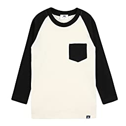 Eva & Elvin 2T-7T Kids 100% Cotton Pajama Tops Raglan Top Black L