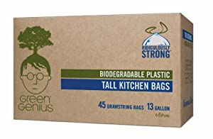 Green Genius Biodegradable Tall Kitchen Bags, Drawstring - 13 Gallon 45 Count
