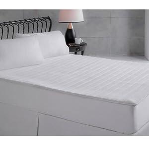 Perfect Fit Ultra Plush Memory Foam Mattress Pad, Queen Size, White