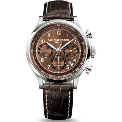 Baume and Mercier Capeland Brown Dial Chronograph Mens Watch M0A10083