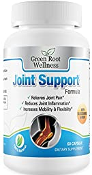 Joint Support Formula Supplement - Relieves Joint Pain, Reduces Inflammation & Increases Mobility - Contains Glucosamine, MSM, Turmeric, Yucca & Collagen - Green Root Wellness, 120 Capsules