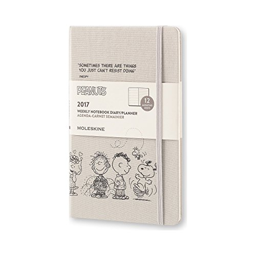 Moleskine 2017 Peanuts Limited Edition Weekly Notebook, 12M, Large, Light Grey, Hard Cover (5 x 8.25)