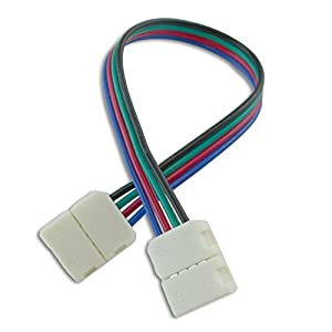 HitLights Any Angle LED Light Strip Connector (SMD5050) - Six Inch Strip to Strip - RGB Multicolor Four Pack