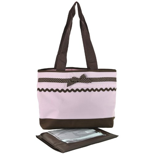 Baby Girls Pink and Brown Ribbon Diaper Tote Bag with Changing Pad - 1