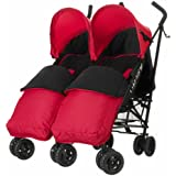 Obaby Apollo Black/Grey Twin Stroller and Red Footmuffs
