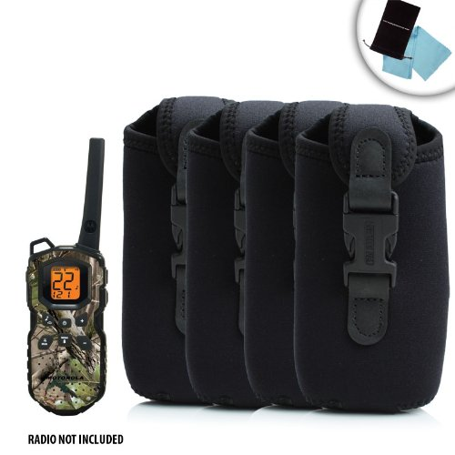 4-Pack Dura-Neoprene Protective Two-Way Radio Carrying Case with Belt Clip for Motorola Talkabout MS350R , Midland GXT1000VP4 , TriSquare TSX300R and Many More Two-Way Radios! ** Includes Accessory Bag and Microfiber Cleaning Cloth! **
