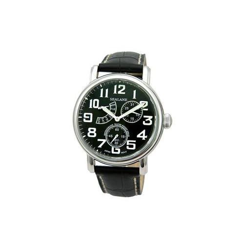 [シーレーン]SEALANE 腕時計 20BAR レトログラードカレンダー 本革 SE14-BK メンズ