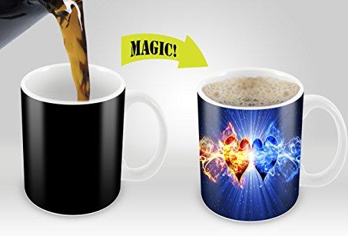 Magic Mugs   Amazing New Heat Sensitive Color Changing Coffee Mug , Good Unique Gift Idea   2 Hearts Design