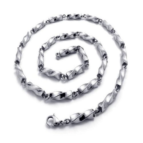 CET Domain SZ11-1142 Mens Silver Colored Titanium Steel Chain Necklace Apparel