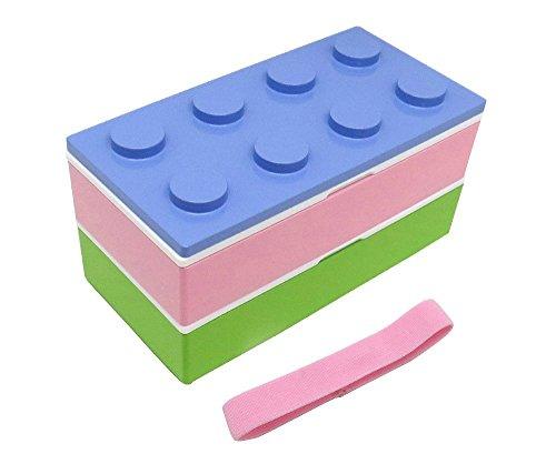 ツートンブロック弁当箱/2段ランチボックス(箸・保冷剤・ベルト付き) LPU