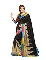 ShoppingOye Printed Tanjavur Silk Saree In Black Color With Blouse Piece