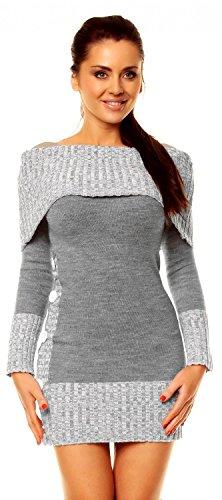 Zeta Ville - Vestito maglia Lungo maglione Bottoni pullover aderente Donna 913z (Grigio, 42/46)