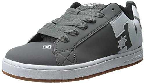 DC Men's Court Graffik Skate Shoe, Grey/White/Grey, 8 M US