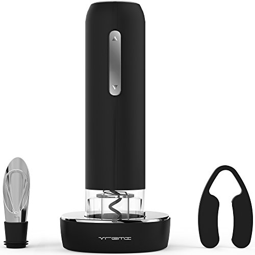 Vremi Electric Wine Opener Set with Pourer and Foil Cutter - Automatic Corkscrew Wine Bottle Opener includes Countertop Charging Stand - Premium Accessories Gifts for Wine Lovers (Bottle Opener Button compare prices)