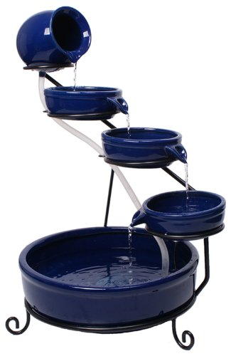 Blue Ceramic Solar Cascade Water Feature with Battery Backup