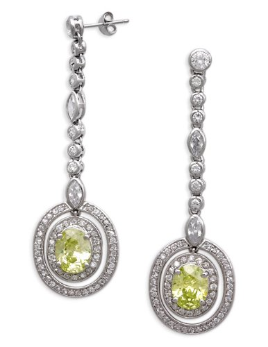 Marquise Round C.Z. With A Oval Lime Center C.Z. Sterling Silver Drop Earrings (Nice Holiday Gift, Special Black Firday Sale)