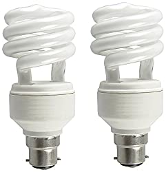 Osram 8 Watt mini Spiral CFL Bulb B22d White (Pack of 2)